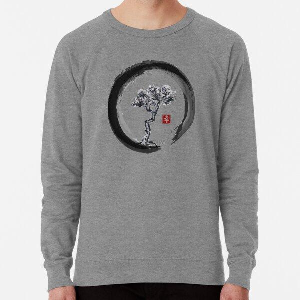 Japanese Pine Tree in Enso Zen Circle - Vintage Japanese Ink Lightweight Sweatshirt