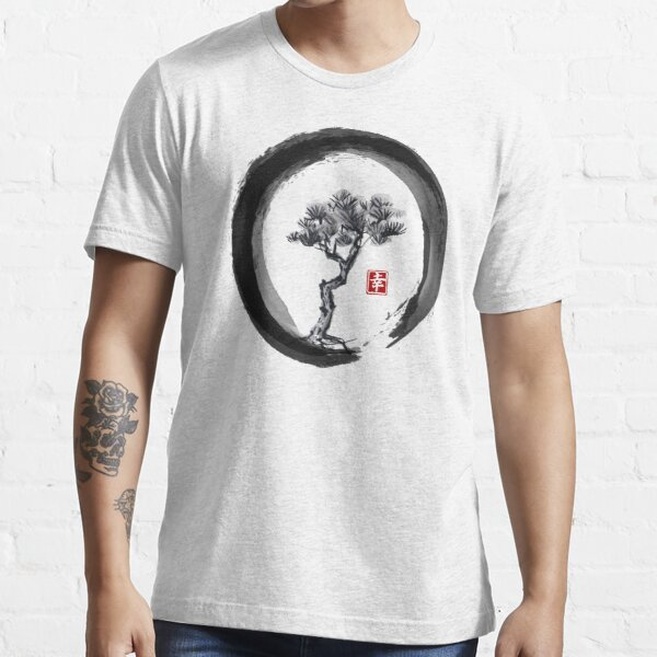 Japanese Pine Tree in Enso Zen Circle - Vintage Japanese Ink Essential T-Shirt