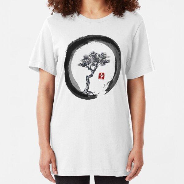 Japanese Pine Tree in Enso Zen Circle - Vintage Japanese Ink Slim Fit T-Shirt