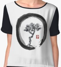 Japanese Pine Tree in Enso Zen Circle - Vintage Japanese Ink Chiffon Top