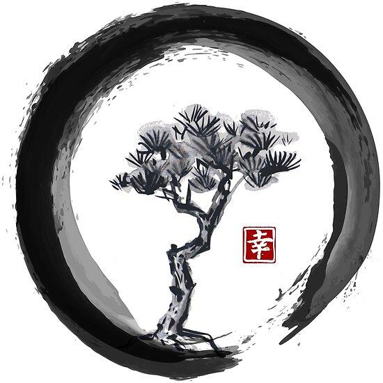 """""""Japanese Pine Tree In Enso Zen Circle"""
