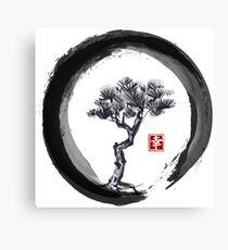 Japanese Pine Tree in Enso Zen Circle - Vintage Japanese Ink Canvas Print