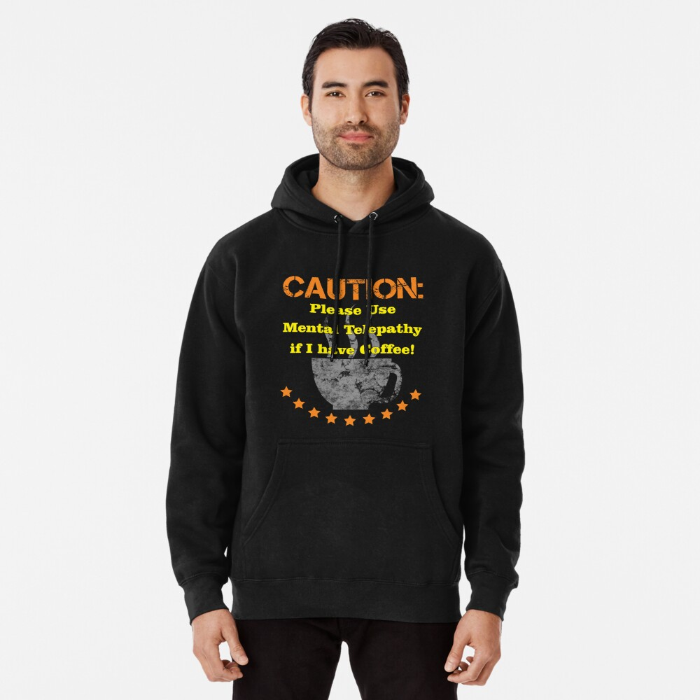Caution Large Coffee Pullover Hoodie