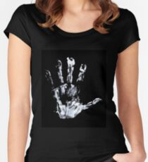 Palm print Finger Prints Black White  Women's Fitted Scoop T-Shirt