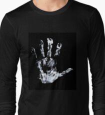 Palm print Finger Prints Black White  Long Sleeve T-Shirt