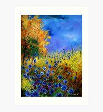 Blue cornflowers and orangetree Art Print