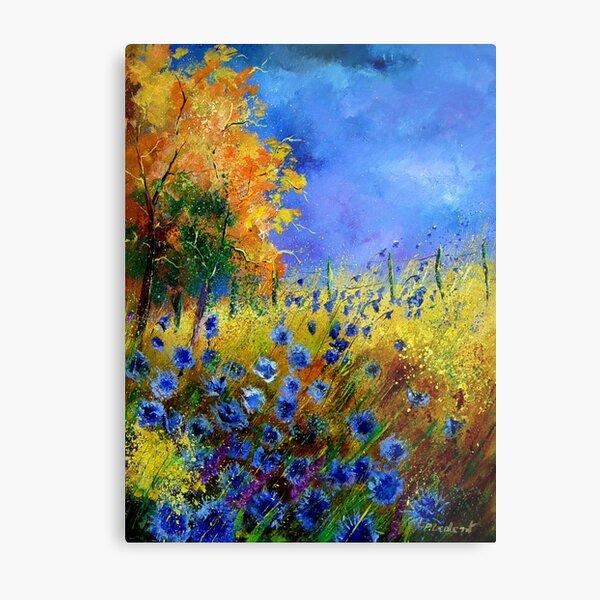 Blue cornflowers and orangetree Metal Print