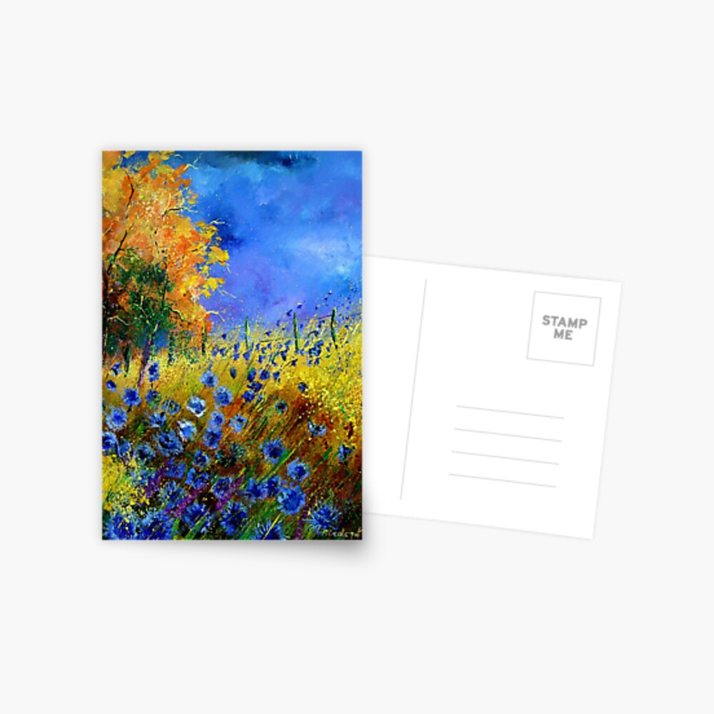 Blue cornflowers and orangetree Postcard