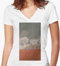 Village en hiver Women's Fitted V-Neck T-Shirt