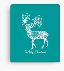 Merry Christmas, teal Christmas card with deer  Canvas Print