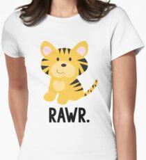 "Cute Little Tiger ""Rawr"" Jungle Animals Womens Fitted T-Shirt"