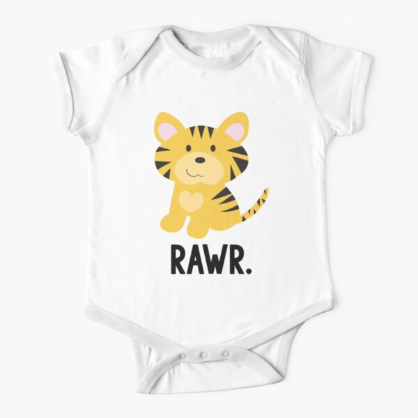 "Cute Little Tiger ""Rawr"" Jungle Animals Short Sleeve Baby One-Piece"