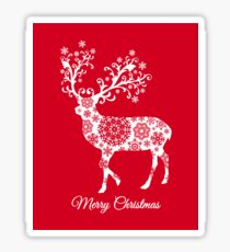 Merry Christmas, red Christmas card with deer Sticker