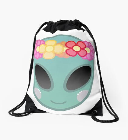 Flower Power Outer Space Drawstring Bag