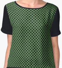 Hippie Green and Black Polka Dots Chiffon Top