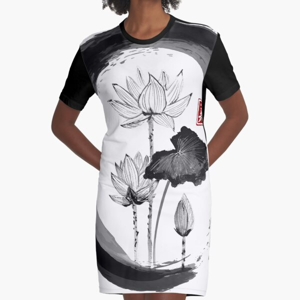 Lotus Flower - Traditional Japanese Ink Painting on Vintage Rice Paper Graphic T-Shirt Dress