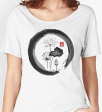 Lotus Flower - Traditional Japanese Ink Painting on Vintage Rice Paper Women's Relaxed Fit T-Shirt