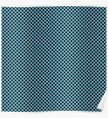Hippie Blue and Black Polka Dots Poster