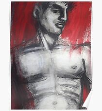 Nude Man Torso On Red Poster