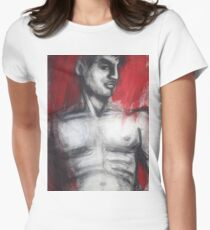Nude Man Torso On Red Women's Fitted T-Shirt