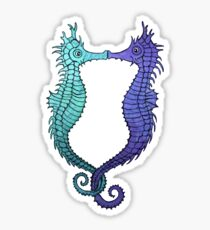 Kissing Seahorses - Blue Sticker