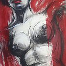 Nude Woman Torso On Red by CarmenT