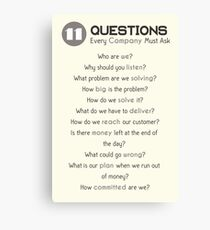 Questions for Successful Companies Canvas Print