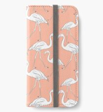 Hand drawn flamingo black outline sketch. Seamless pattern vector iPhone Wallet/Case/Skin