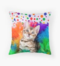 Party Bengal Kitten Throw Pillow