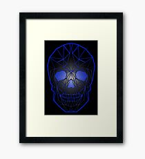 Shiny effect black geometric skull with electric blue Framed Print