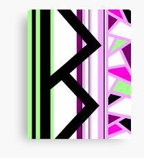 Berkana Blossom Fertility Norse Rune Pink Black Green White Canvas Print