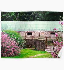 Stone Barn with flowers, Donegal, Ireland Poster