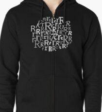 R   Typography (Black) Zipped Hoodie