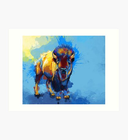 On the Plain - Bison painting Art Print
