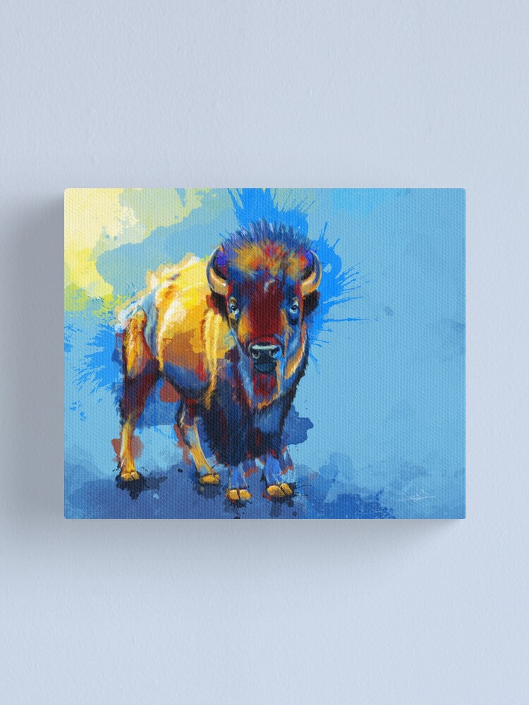 Alternate view of On the Plain - Bison painting Canvas Print