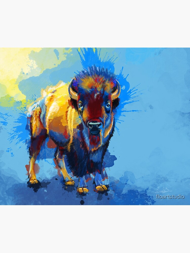 On the Plain - Bison painting by floartstudio