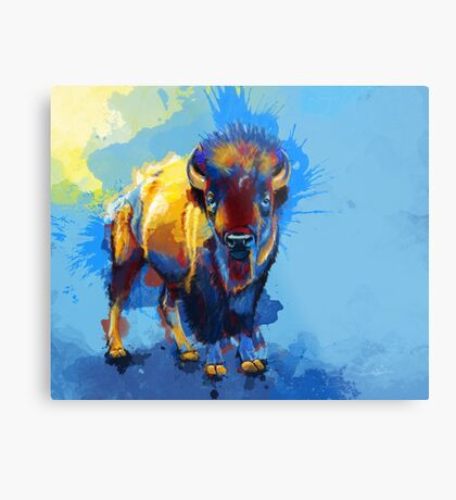 On the Plain - Bison painting Metal Print