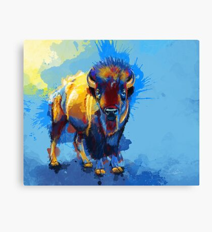 On the Plain - Bison painting Canvas Print