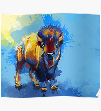 On the Plain - Bison painting Poster
