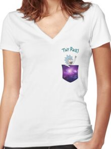 Tiny Rick! Women's Fitted V-Neck T-Shirt