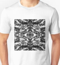 vintage psychedelic graffiti symmetry art abstract in black and white T-Shirt