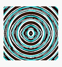 psychedelic geometric graffiti circle pattern abstract in blue black and white Photographic Print