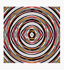psychedelic geometric graffiti circle pattern abstract in red orange pink black Photographic Print