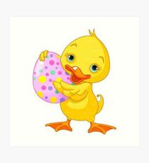 Easter Duck and Egg Art Print