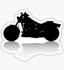 Cruiser Motorcycle Silhouette with Shadow Sticker