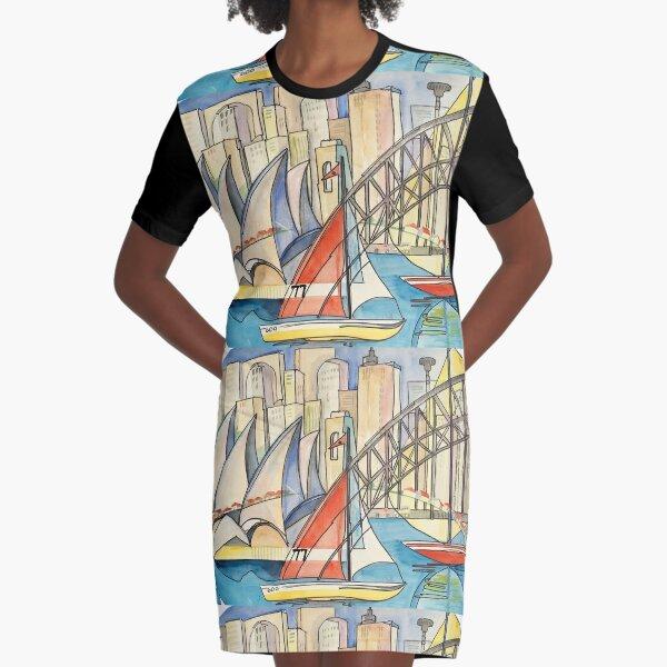 Sydney Harbor Australia Graphic T-Shirt Dress