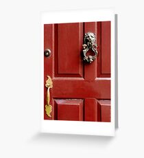 Red door with Lion Knocker Greeting Card