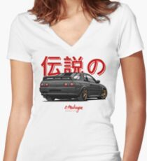 Nissan Skyline R32 GTR (black) Women's Fitted V-Neck T-Shirt