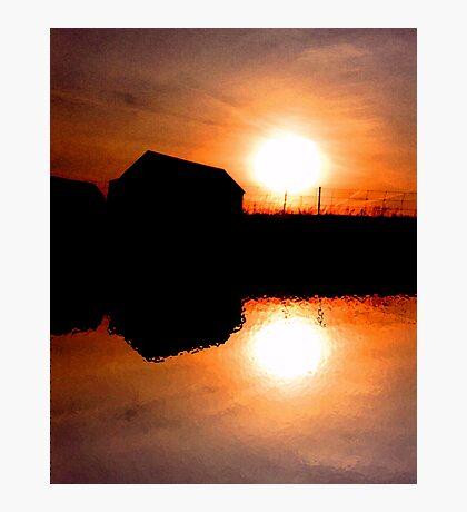 Sunset Barns Photographic Print