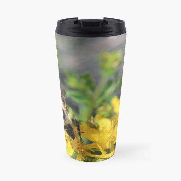 Busy bee on yellow flowers Travel Mug